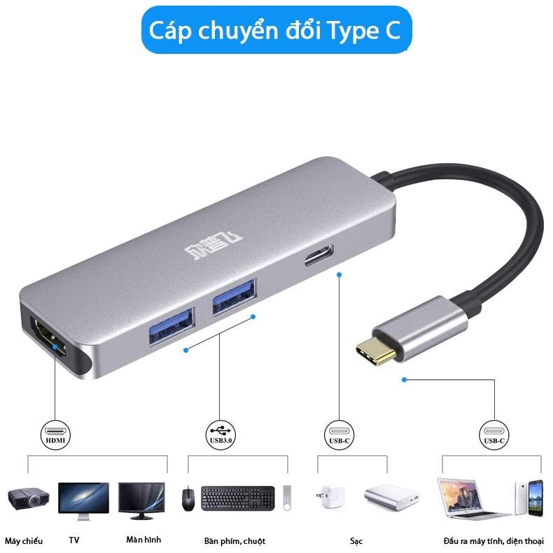 ( Laptop Macbook ) Cáp chuyển đổi SSK SC103 USB Type C sang HDMI, USB 3.0, thẻ SD