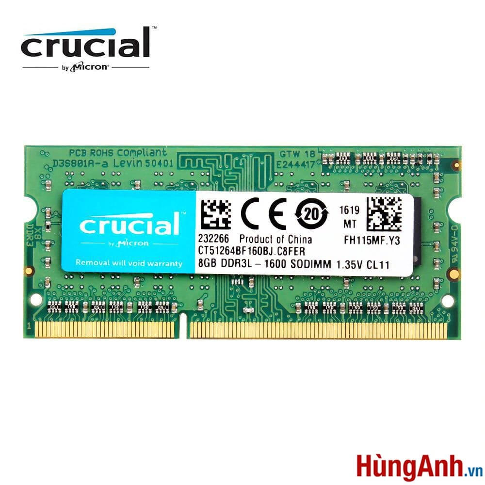 RAM Laptop Crucial 8GB / PC3L BUS 1600 / 12800S