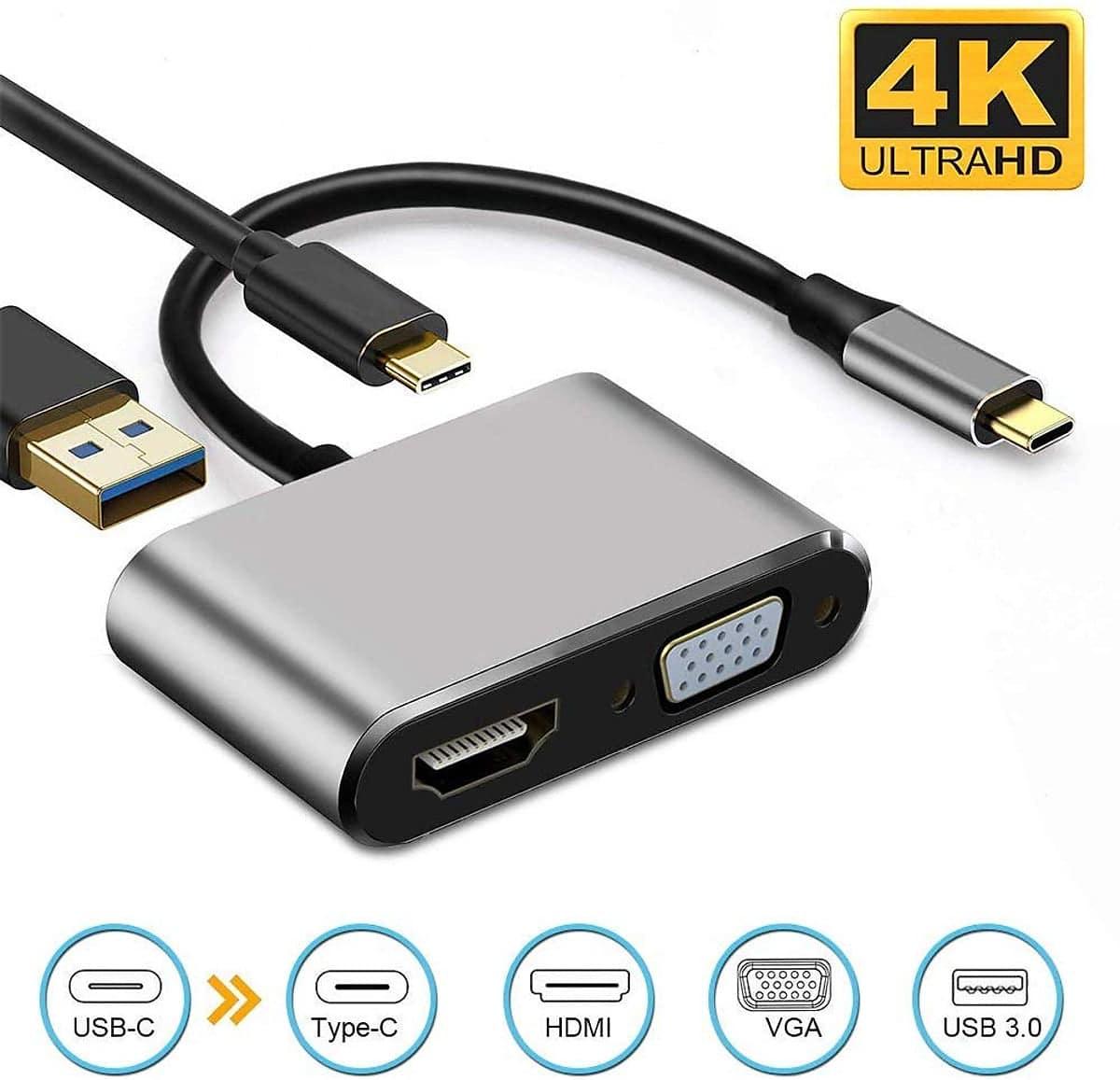 ( Laptop Macbook ) Cáp chuyển đổi USB Type C sang HUB PD, HDMI, USB 3.0, VGA